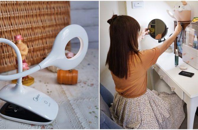 好燈推薦  Midea 美的星環夾燈 露營 外出 化妝補燈 CP值超高可夾站可充電的夾(檯)燈