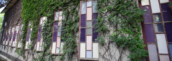 船型建築的彩色玻璃窗戶